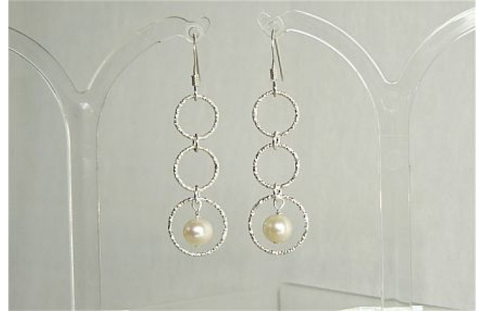 Three Ring Long Drop Pearl Earrings