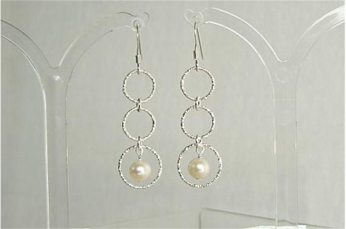 Three Ring Long Drop Pearl Earrings