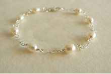 White Pearl on Silver Chain Bracelet
