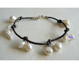 White Pearls on Knotted Leather Bracelet