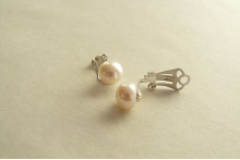 White Pearl Sterling Silver Clip Earrings