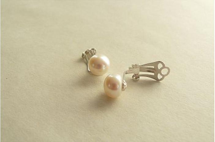White Pearl Sterling Silver Clip Earrings