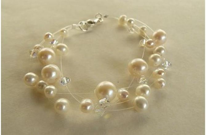 White Pearl Illusion Bracelet