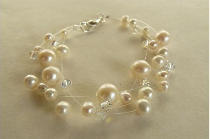 White Pearl Illusion Bracelet