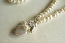 White Small Baroque Pearl Heart Drop Necklace