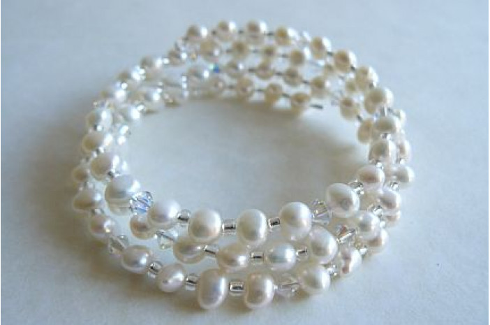White Pearl Memory Wire Bracelet