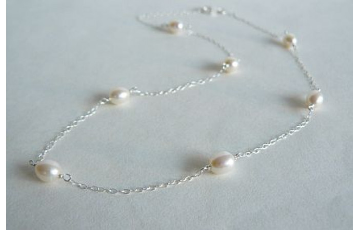 White Pearls on Small Silver Chain Necklace