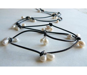 White Pearls on Leather Necklace