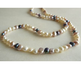 White Pink & Grey Pearl Necklace
