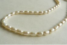 White Smallest Oval Pearl Necklace