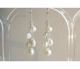 White Small Baroque Pearl Cluster Drop Earrings