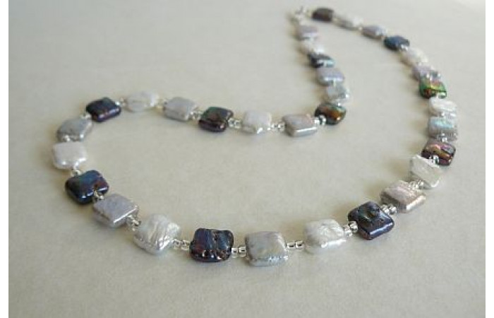 White Silver & Grey Square Pearl Necklace