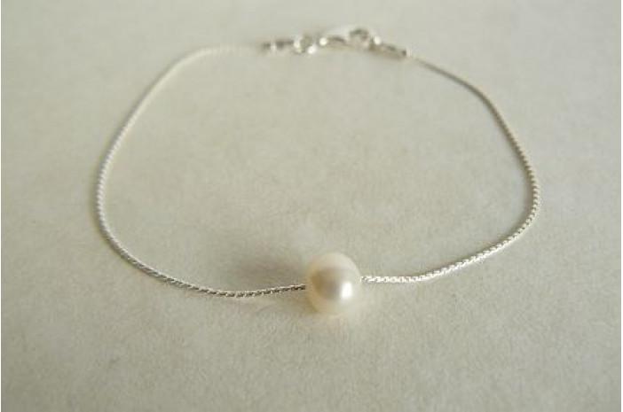 Single Small White Pearl on Fine Silver Chain Bracelet