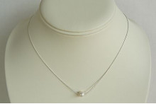 Single Small White Pearl on Fine Silver Chain Necklace