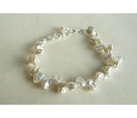 White Keshi Pearl Bracelet