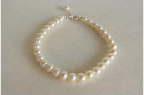 Childrens' White Small Round Pearl Bracelet