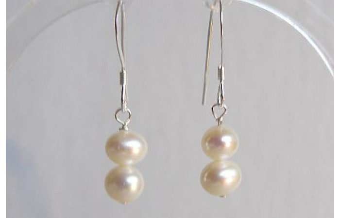 White Small Round Pearl Drop Earrings