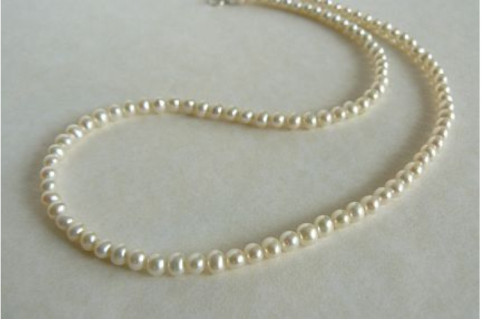 White Smallest Round Pearl Necklace