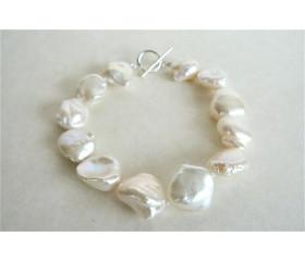 White Keshi Baroque Pearl Bracelet