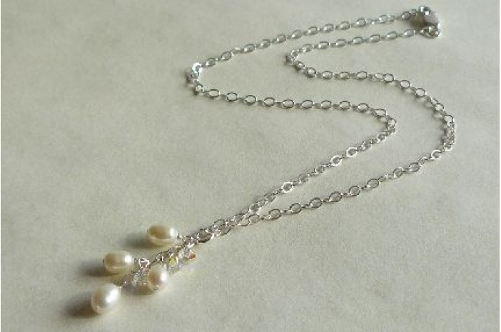 White Pearl Cluster Necklace on Silver Chain