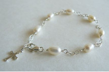 White Pearl & Cross on Silver Chain Bracelet