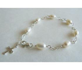 White Pearl & Cross on Silver Chain Bracelet