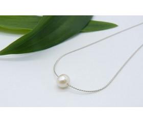 Single Small White Pearl on Fine Silver Chain Necklace
