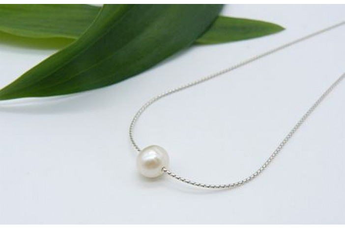 1b23553a0744a Single Small White Pearl on Fine Silver Chain Necklace