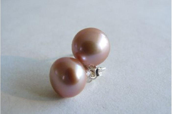 Pink Pearl Stud Earrings -Large