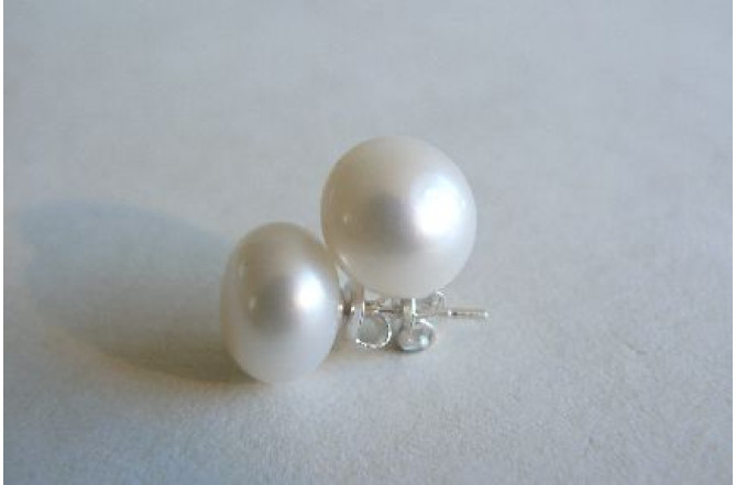 White Pearl Stud Earrings - Large