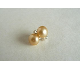 Gold-Yellow Pearl Stud Earrings - Large