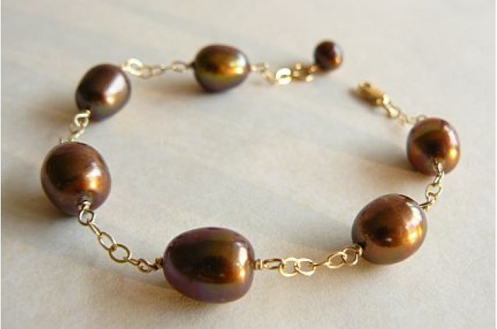 Bronze Oval Pearl - Gold or Silver Chain Linked