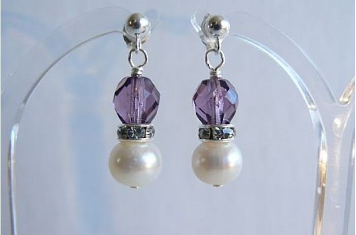 White Pearl & Amethyst Bead Stud Drop Earrings