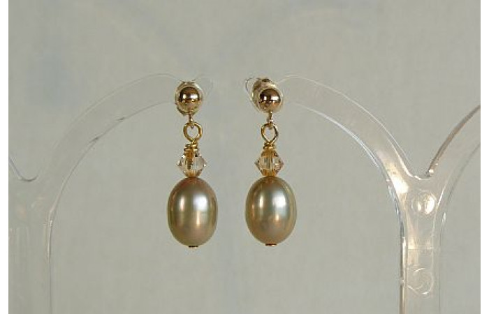Champagne Pearl & Crystal Stud Drop Earrings