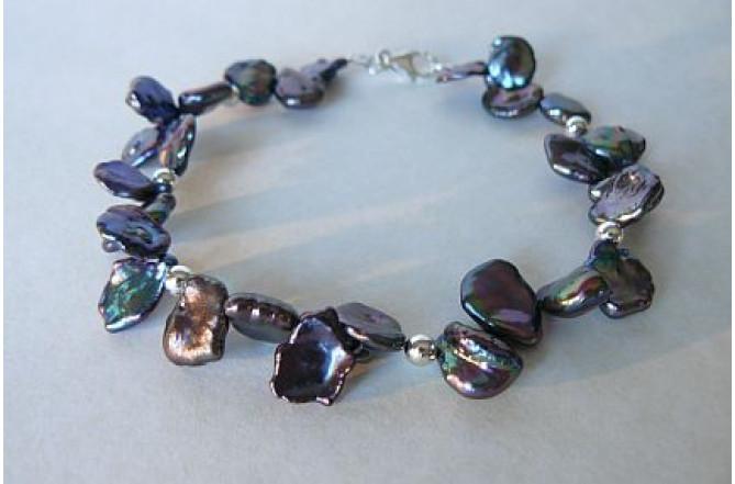 Grey Large Keshi Pearl Bracelet