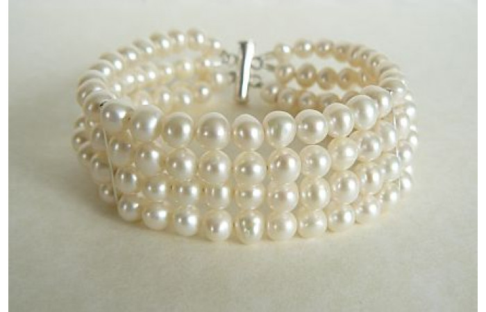White Round Pearl Cuff Bracelet
