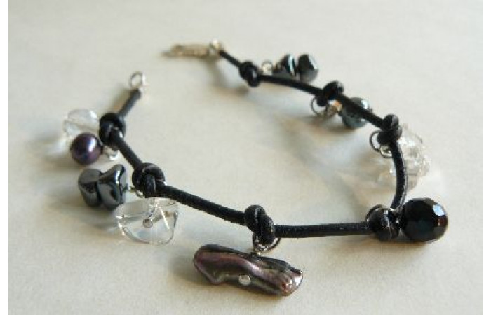 Grey Pearls on Knotted Leather Bracelet