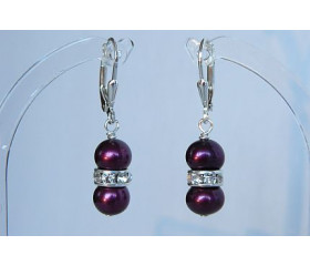 Mulberry Pearl & Crystal Rondel Drop Earrings