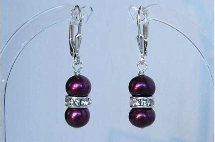 Mulberry Pearl & Crystal Rondel Drop Earrings