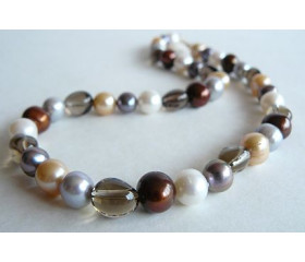 Mixed Colour Large Pearl & Smokey Quartz Necklace