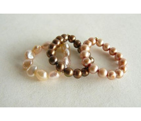 Gold, Peach & Bronze Elasticated Pearl Rings