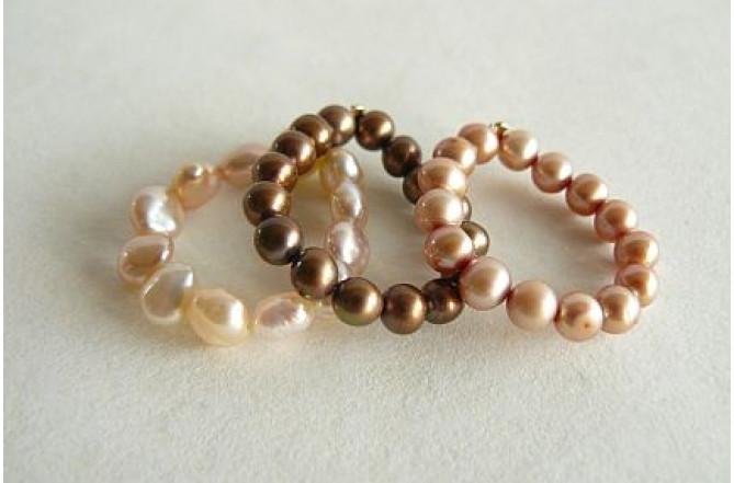 Gold, Peach & Bronze Elasticated Pearl Rings