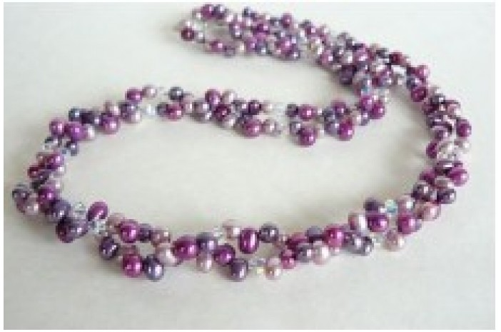 Pink Purple & Lilac Freshwater Pearl Head-Drill Two Strand Necklace