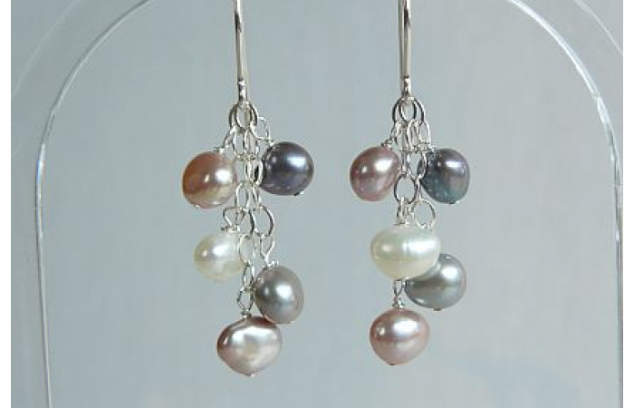 Pink White Grey & Silver Pearl Small Cluster Drops