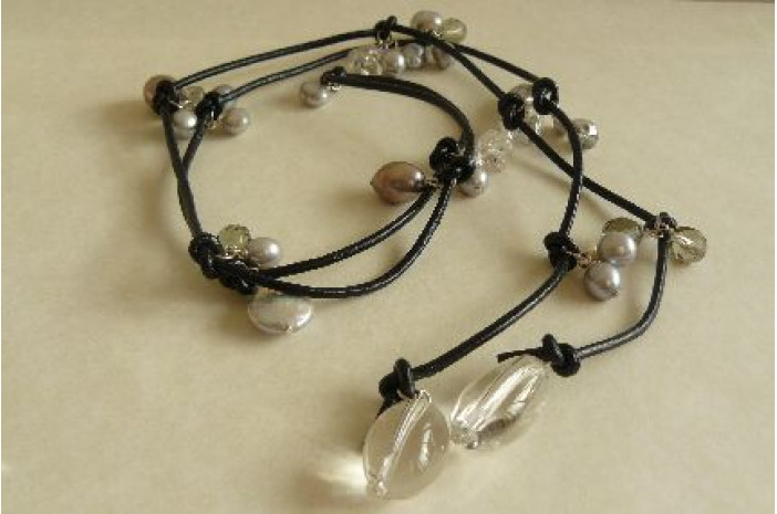 Silver & Grey Lariat on Leather
