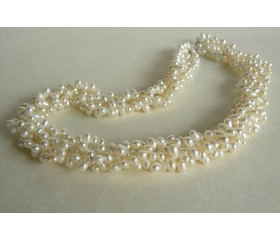Four Strand White Head-Drilled Twisted Necklace