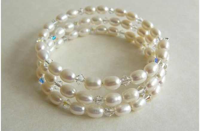 White Oval Pearl Memory Wire Bracelet