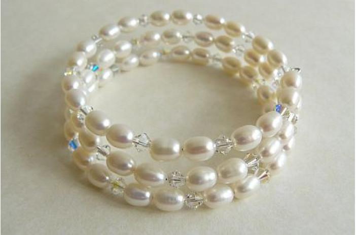White Oval Pearl Memory Wire Bracelet