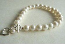 White Round Pearl with Silver Open Heart Drop
