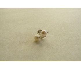 White Pearl Stud Earrings - X-Small